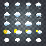 Clouds and sun. Icons set. Cloud, sun, cloud rain Icons on transparent background Vector illustration Collection of Cloud, rain, sun symbols template For Stock Photo