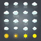 Clouds and sun. Icons set. Cloud, sun, cloud rain Icons on transparent background Vector illustration Collection of Cloud, rain, sun symbols template For Stock Photos
