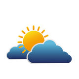 clouds and sun isolated icon Stock Photography