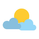 Clouds and sun isolated icon Royalty Free Stock Photos