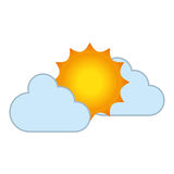 Clouds and sun isolated icon Stock Images
