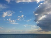 Silence before storm. Blue color tones at nature landscape of clouds, sky and sea Stock Images