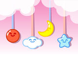 Clouds sun moon and stars hanging.  Royalty Free Stock Photos