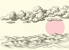 Clouds and sun over desert sand dunes. Desert landscape drawing stock illustration