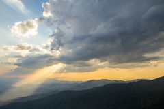 Clouds and sun ray on blue sky Royalty Free Stock Photo