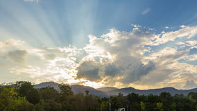 Clouds and sun ray on blue sky