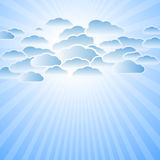 Clouds and sun rays Royalty Free Stock Images