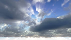 Clouds and sun rays animation stock footage
