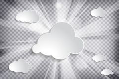Clouds with sun and rays on chequered background. Clouds with sun and rays on a chequered background vector illustration