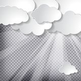 Clouds with sun rays on chequered background. White paper clouds with sun rays on a chequered background royalty free illustration