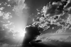 Clouds and sun rays stock image