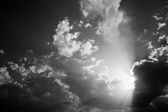 Clouds and sun rays royalty free stock photography