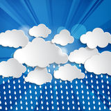 Clouds with sun rays and rain drops Stock Photo
