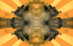 Clouds with sun rays. Surreal, dark clouds with sun rays. Abstract illustration Stock Photos