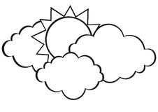 Clouds and sun. Vector. Contour. Black and white. Free space for text Stock Images
