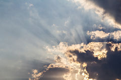Clouds and sunbeam on blue sky Royalty Free Stock Photography