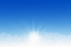 Clouds and sunrays. Blue sky with white clouds and sunrays Royalty Free Stock Photography