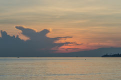 Clouds at sunrise by the sea. In bali stock photo