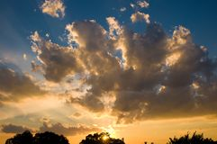 Clouds at Sunset. Colorful Sunset in Texas in Ft Worth Royalty Free Stock Photography