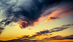 Clouds at sunset. Beautiful sky and clouds at sunset Stock Photo