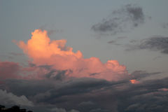 Clouds in the sunset. Evening view of the sky, clouds in the sunset, before the rain Royalty Free Stock Images
