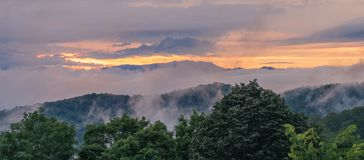 Clouds in sunset in the Great Smoky Mountains stock photos