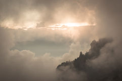 Between Clouds. Sunset in a ridge of Iztaccí­huatl volcano, Mexico Stock Photos