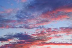 Clouds at sunset time. Picture of a Clouds at sunset time Royalty Free Stock Photography