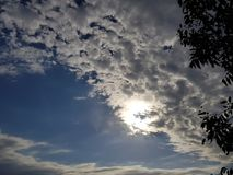 Clouds and sunshine. Cloud in the blue sky and sunshine Royalty Free Stock Images