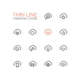 Clouds with Symbols - modern vector single thin line icons set Stock Image