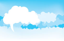 Clouds of Thought. Several clouds with pointy point pointing downward to represent thoughts and speech Stock Images