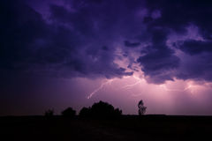 Clouds and thunder lightnings and storm Royalty Free Stock Photography