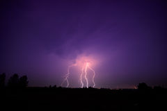 Clouds and thunder lightnings and storm Royalty Free Stock Photo
