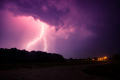 Clouds and thunder lightnings and storm. In Hungary Royalty Free Stock Image