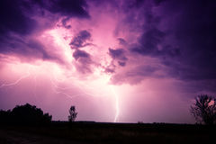 Clouds and thunder lightnings and storm. In Hungary Royalty Free Stock Images
