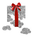 Clouds tied with red ribbon as a gift. Black and white clouds tied with red ribbon Royalty Free Stock Photography