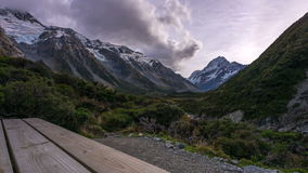 Clouds time lapse at Mount Cook at Hooker Valley Track stock video footage