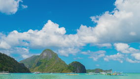 Clouds timelapse in the beautiful tropical beach landscape Of El Nido, Palawan. stock video
