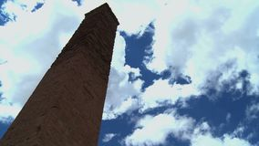 Clouds timelapse with bricks tower in Bolivia stock video