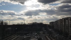 Clouds timelapse in town. Beautiful clouds timelapse in Bucharest stock video footage