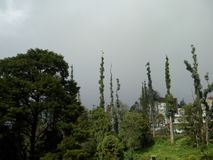 Clouds about to burst. Rainy season starts in a hill town of Tamilnadu royalty free stock photo