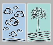 Clouds and tree cards Royalty Free Stock Images