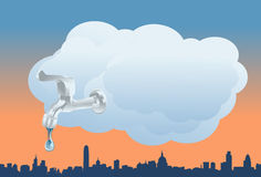 The Clouds Turning On The Faucet Stock Image