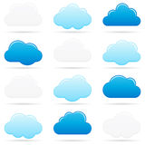 Clouds. Twelve different cloud shapes on white Royalty Free Stock Images