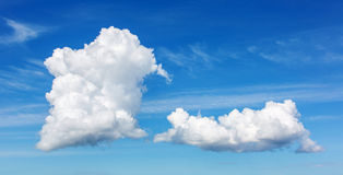 Clouds. Two clouds on a blue sky Stock Images