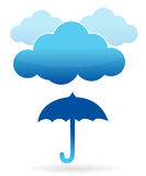 Clouds and umbrella illustration Royalty Free Stock Image