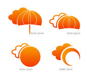 Clouds, umbrella and sun, orange Royalty Free Stock Photos