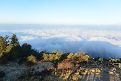Clouds under Poon Hill, Nepal stock image