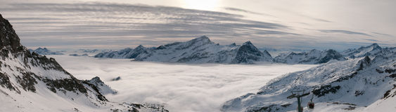 Clouds in the valley. Clouds fill the valleys. Monte Rosa ski area, Aosta Valley, The Alps, Italy stock images