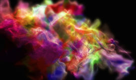 Clouds of varicolored dust in the dark, 3d illustration. 3d illustration on the abstract theme of beautiful particles Stock Photos